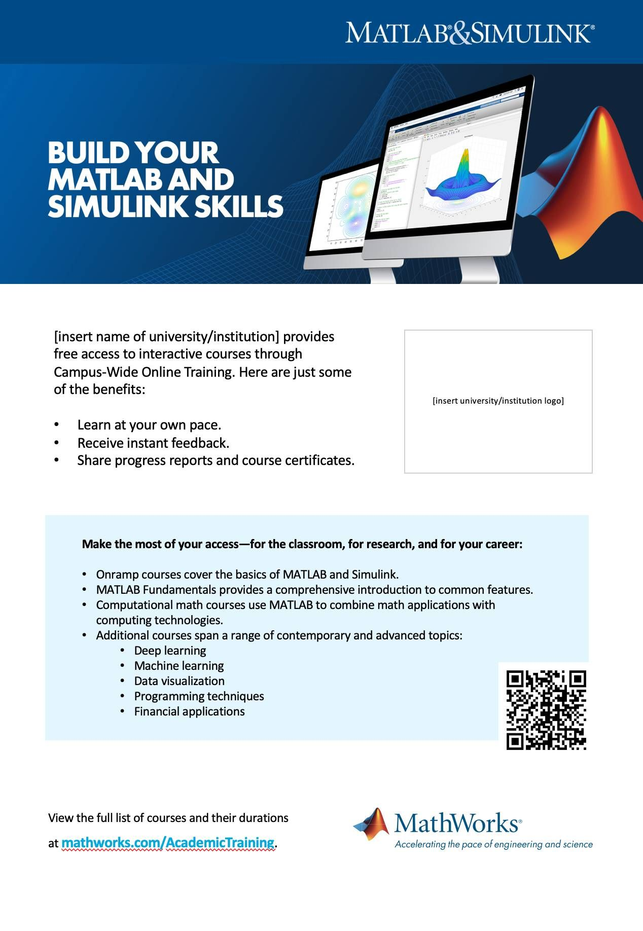 Campus-Wide License Online Training Poster template A4