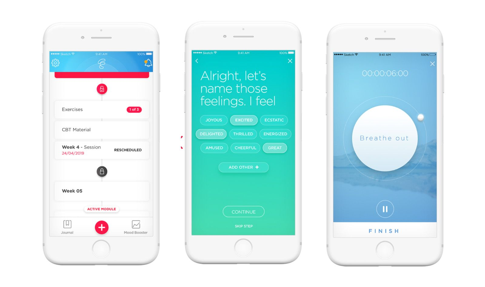 Three smartphone screens showing the Feel phone app.  Left: The Feel app includes journaling and therapist recommendations. Center: The app prompts users to identify their current emotions. Right: the app recommends a breathing exercise.