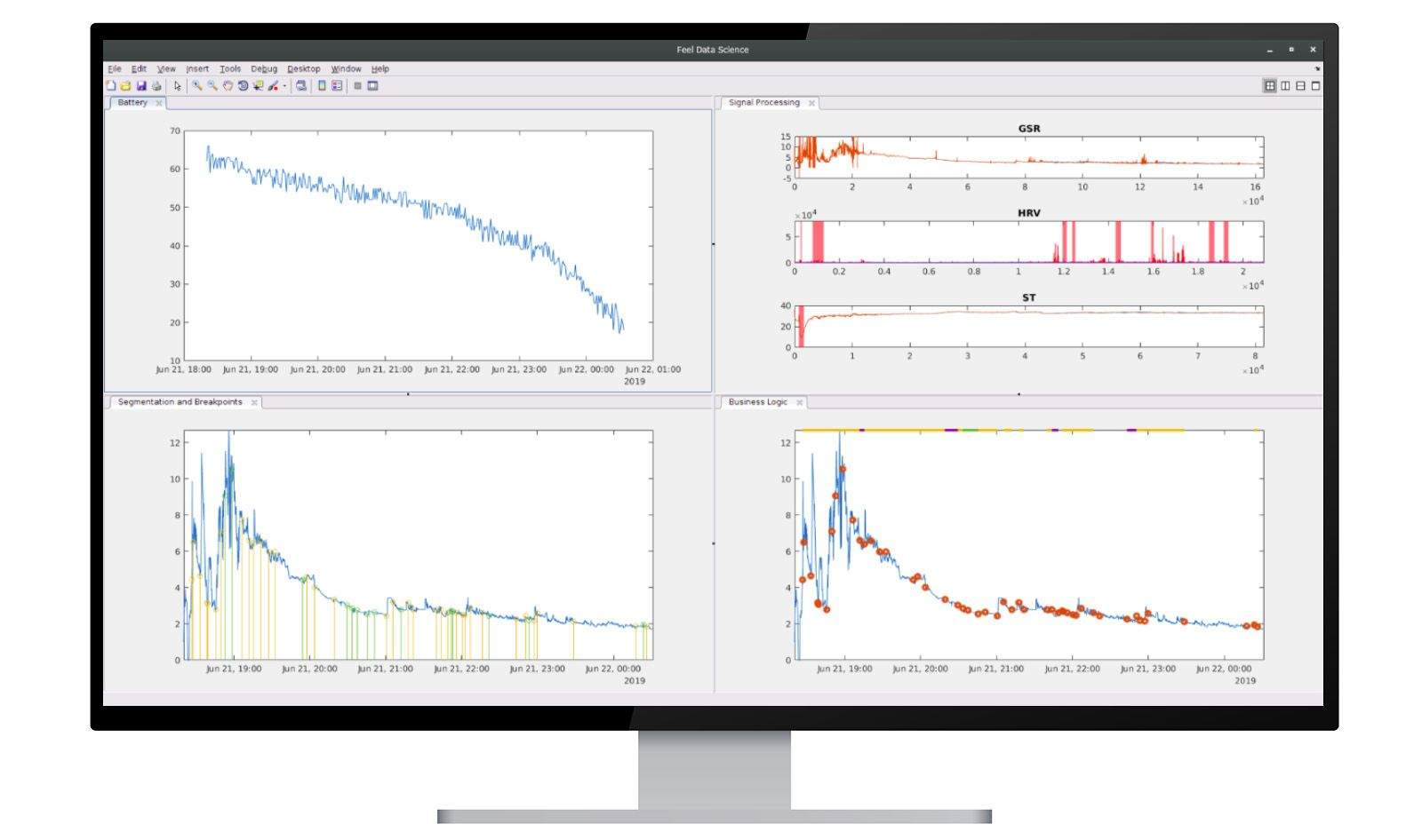 A computer screen showing MATLAB signal processing and machine learning used by Feel.
