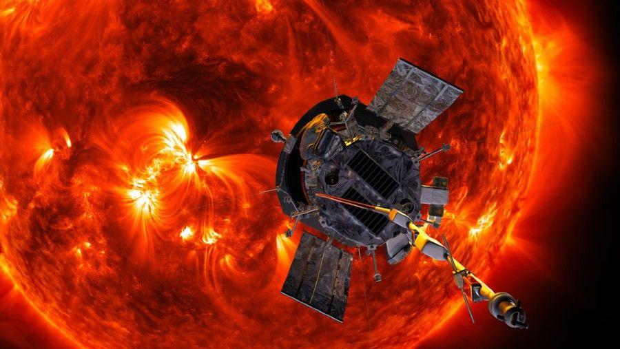 Figure 1. Artist's rendition of the Parker Solar Probe approaching the Sun. Image courtesy JHU APL. http://parkersolarprobe.jhuapl.edu/