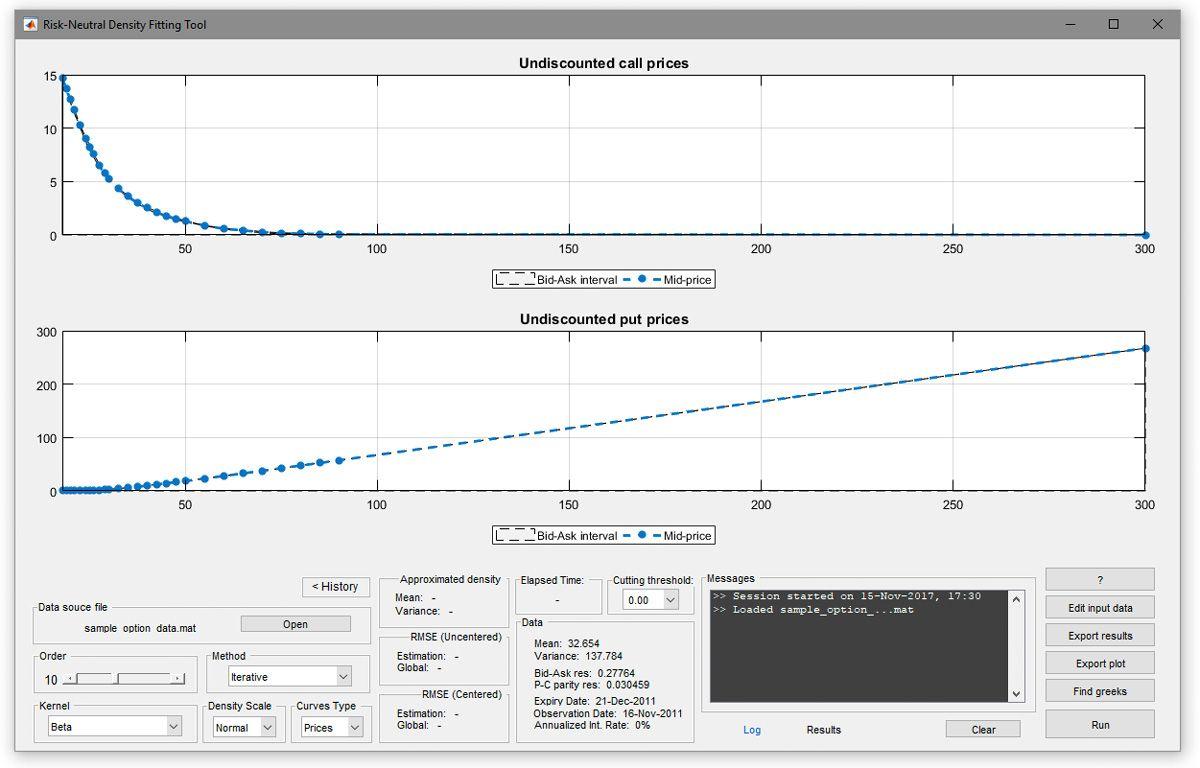 Figure 1. The Risk-Neutral Density Fitting Tool app.