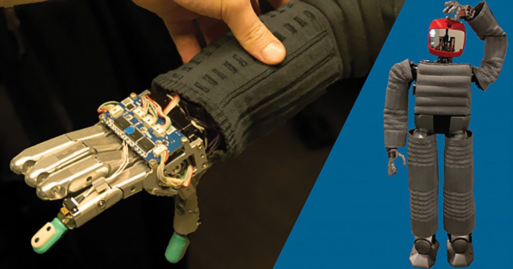 Hubo's touch-sensitive sleeve (left) and full-body protective clothing (right). Image credit: Drexel University.