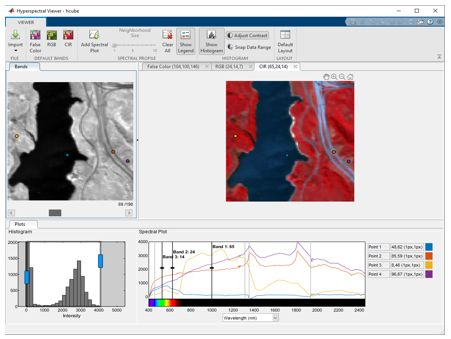 Hyperspectral Viewer app for visualizing hyperspectral data and spectral profiles.