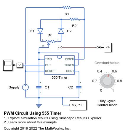 PWM Circuit Using 555 Timer - MATLAB & Simulink