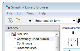The Simulink Library Browser.
