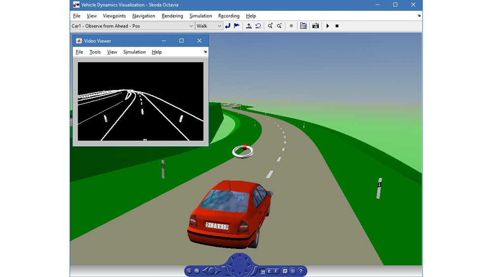 Simulation of vehicle dynamics.