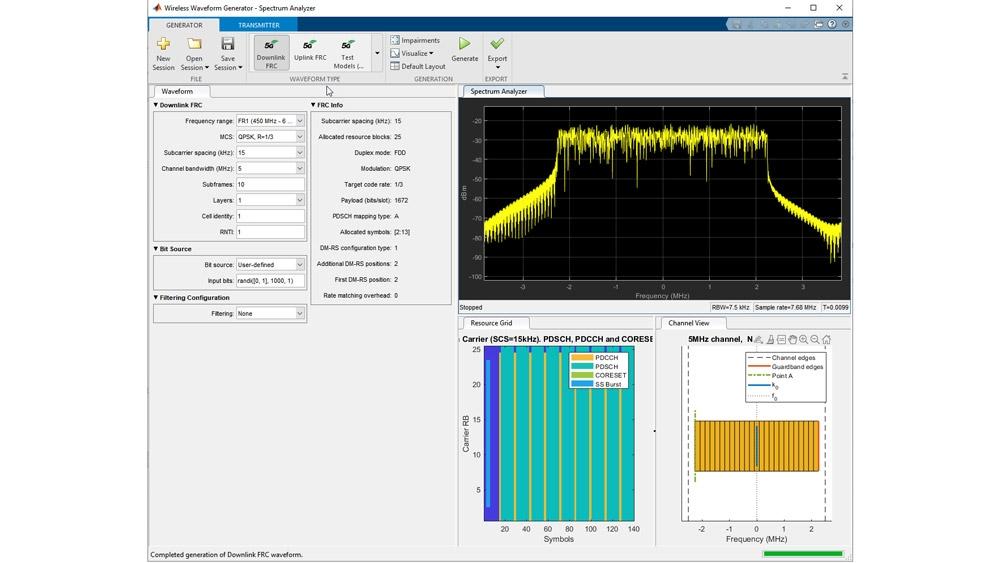 Test model generation using Wireless Waveform Generator App.