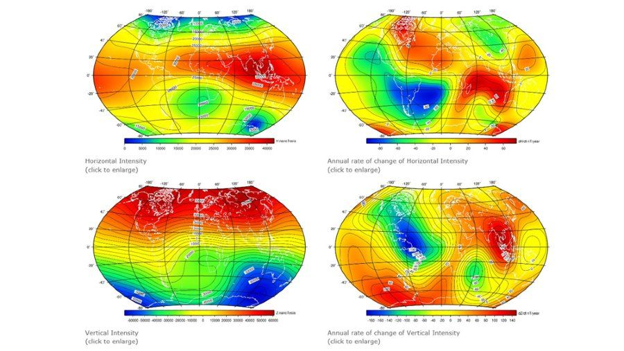 Earth's magnetic field intensities using the 13th generation of the International Geomagnetic Reference Field.