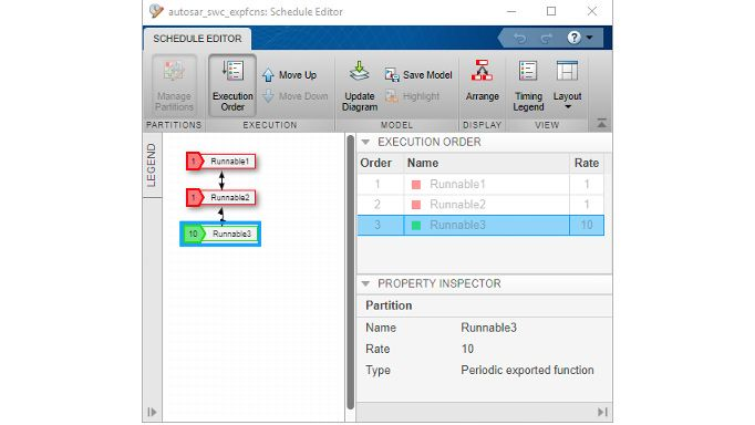 Using Schedule Editor to configure AUTOSAR runnable execution order.