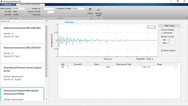 Acquire, analyze, and generate analog data on DAQ devices without writing code.