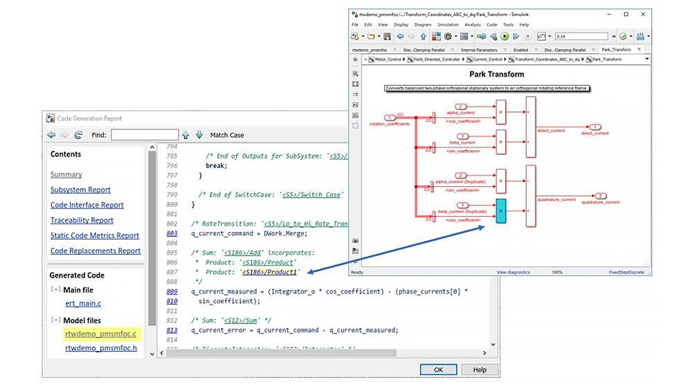 Simulink code generation report highlighting bidirectional traceability between algorithm and implementation.