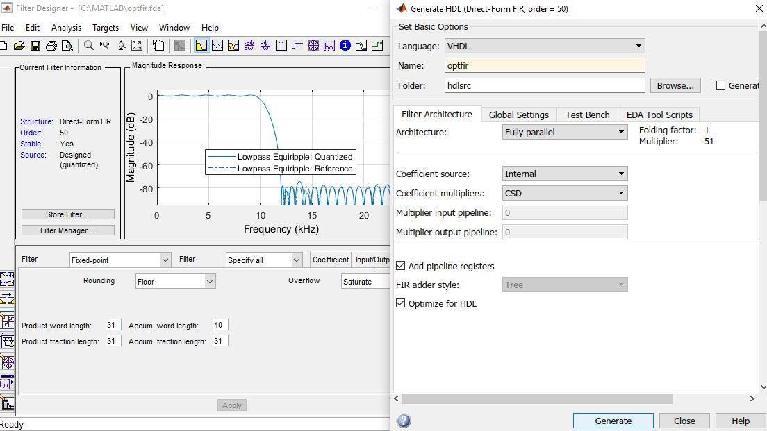 Filter Design HDL Coder