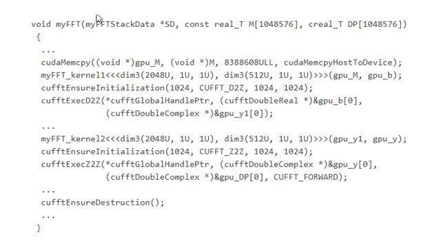 Generated code calling functions in the optimized cuFFT CUDA library.
