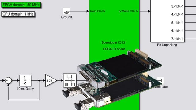 Perform real-time simulation by implementing a Simulink subsystem on a Speedgoat FPGA I/O board.
