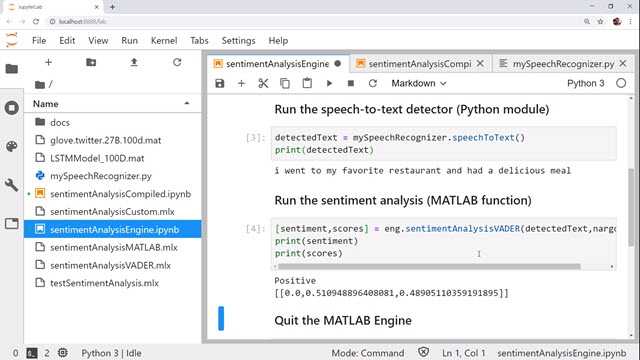 Learn how to call MATLAB code from Python using a sentiment analysis example.