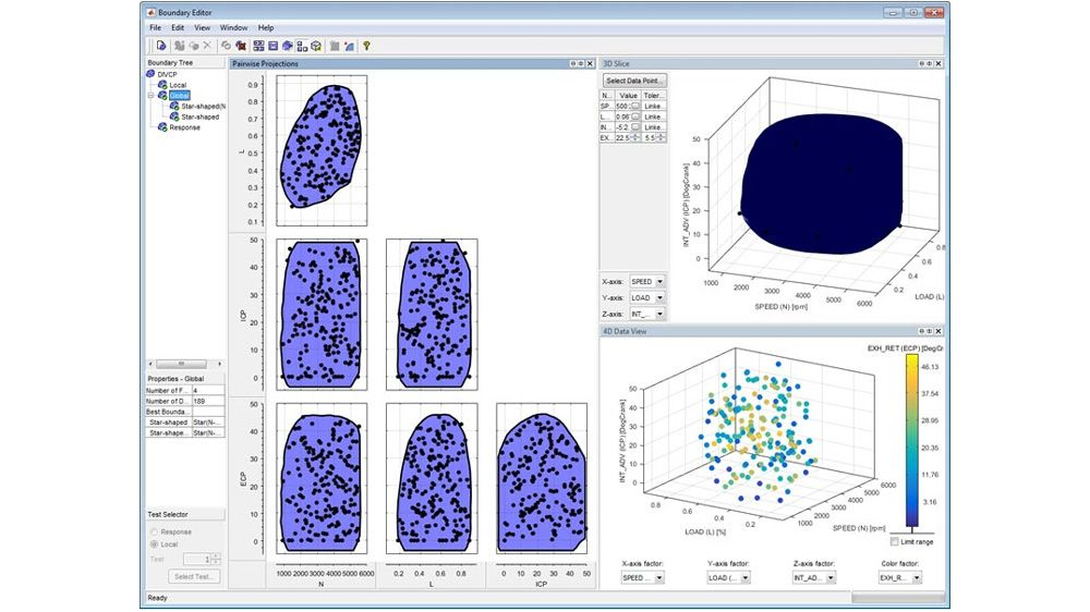 Using the Boundary Editor to define and visualize the feasible testing region and associated test conditions.