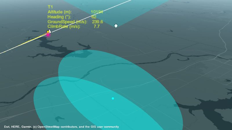 Radar system tracking aircraft over route.