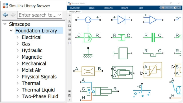 Simscape Foundation Library with components from many domains