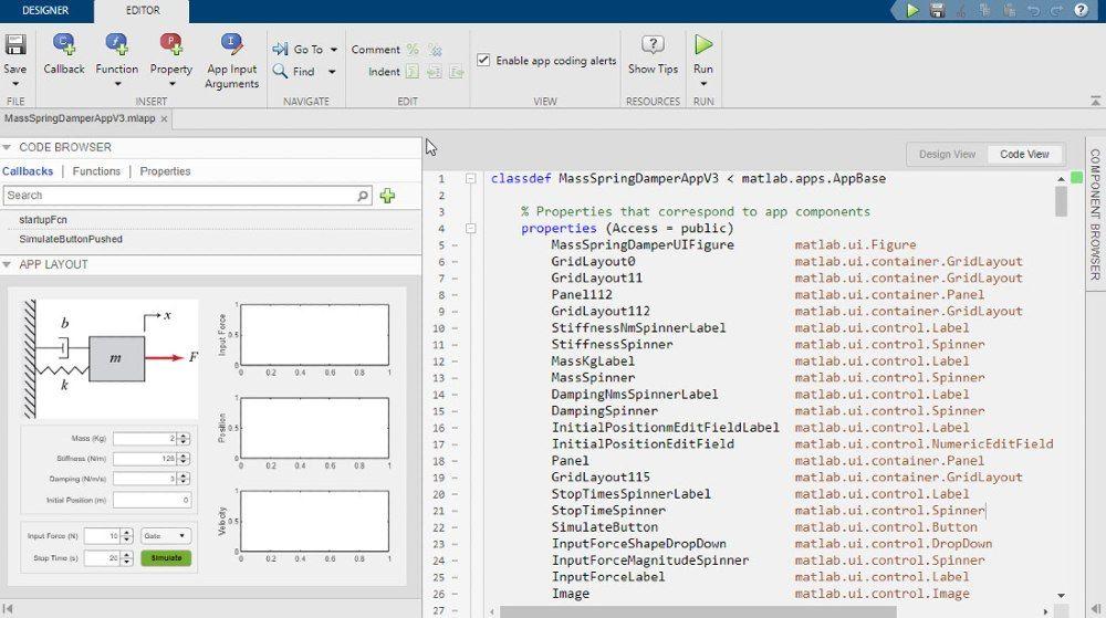 Use App Designer to design a graphic UI of the simulation App