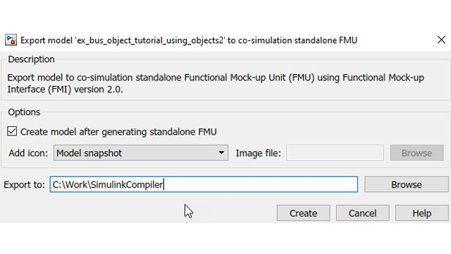 Option to bring the created FMU back into Simulink automatically after creation.
