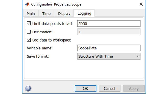 Set scope parameters to log to workspace.