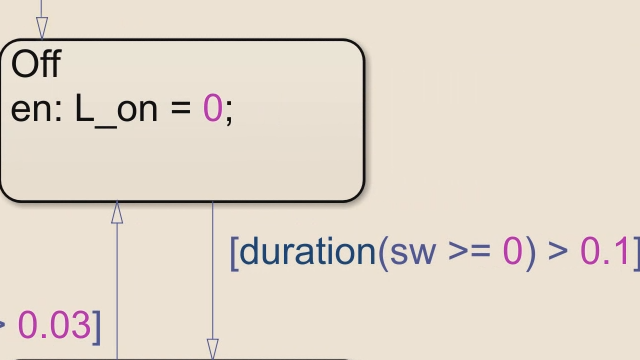 Express state machine logic more concisely by using the duration and elapsed operators in Stateflow.