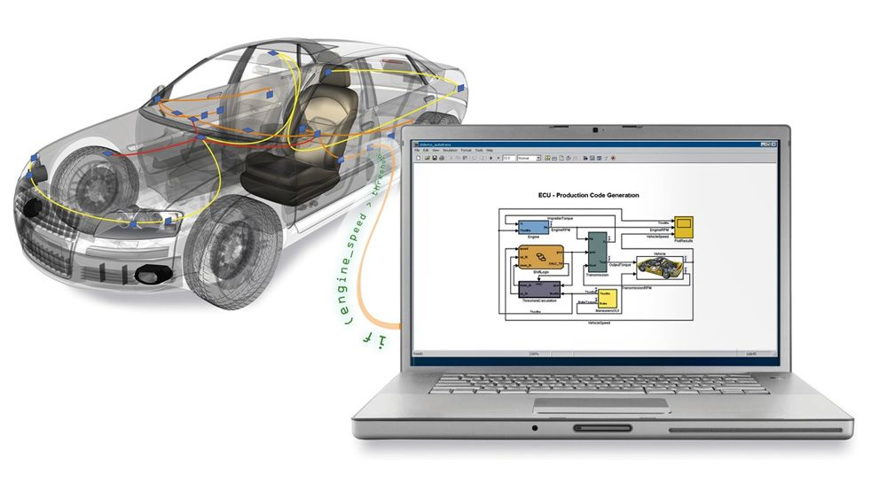 An automobile connected to a laptop that is being used to access vehicle bus data from MATAB and Simulink.