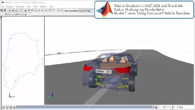 See an animation showing a race track simulation with Simscape.