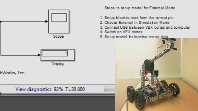 Learn to use Simulink external mode with VEX Cortex Microcontroller to acquire and log sensor data over a serial USB connection.