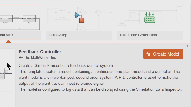Build​ Simulink models using design patterns that serve as starting points to solve common problems