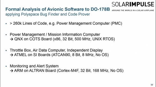 Explore how Solar Impulse uses Polyspace static analysis to ensure the software in their solar plane complies with DO 178B.